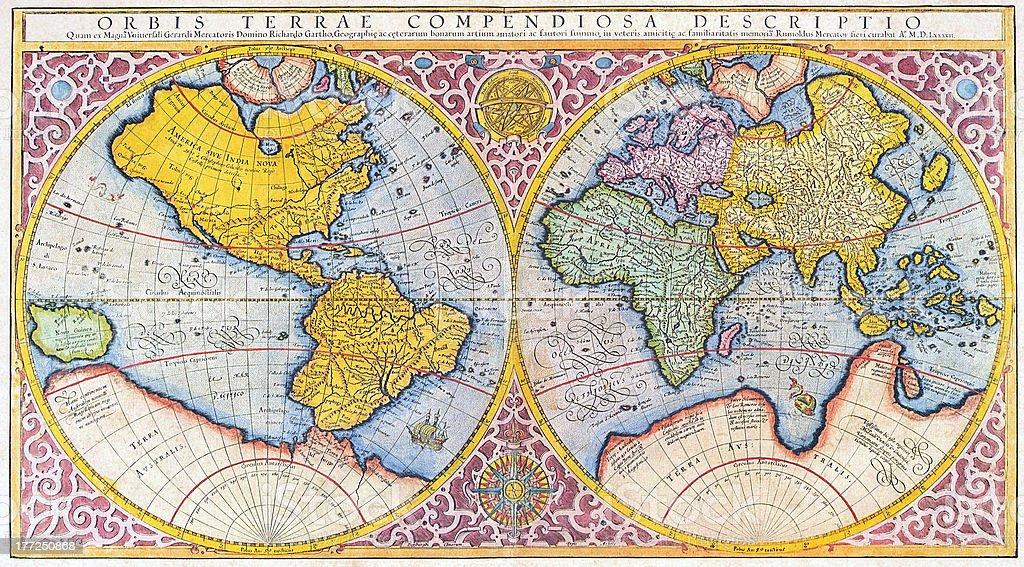 16 ème Siècle Carte Du Monde Mercator – Cliparts vectoriels et