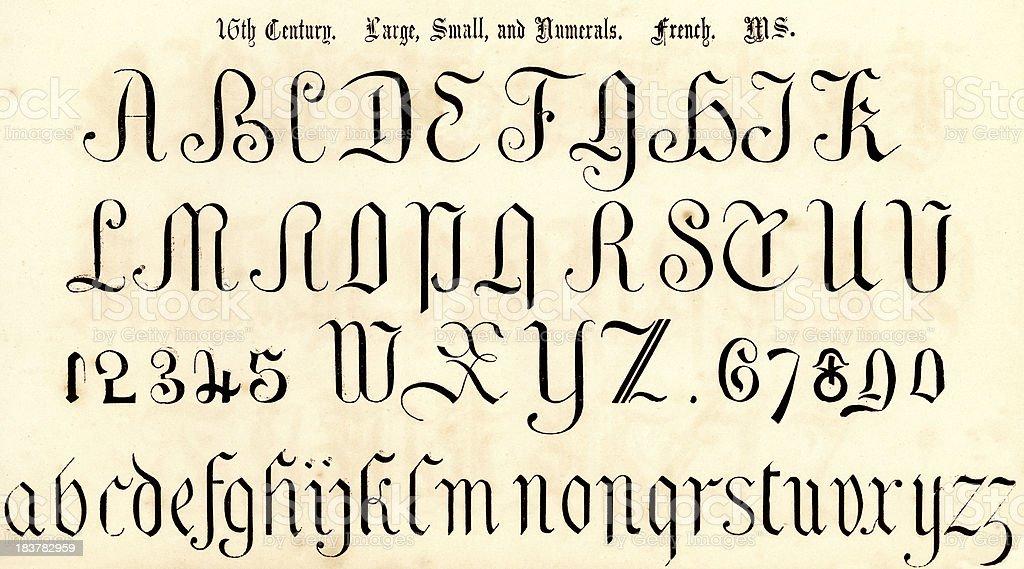 16th Century Script Style Alphabet vector art illustration
