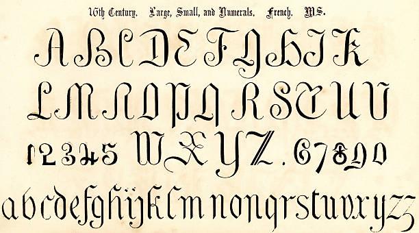 16th century script style alphabet - renaissance style stock illustrations, clip art, cartoons, & icons