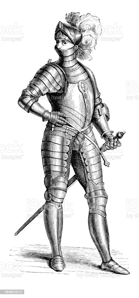 16th Century Soldier vector art illustration