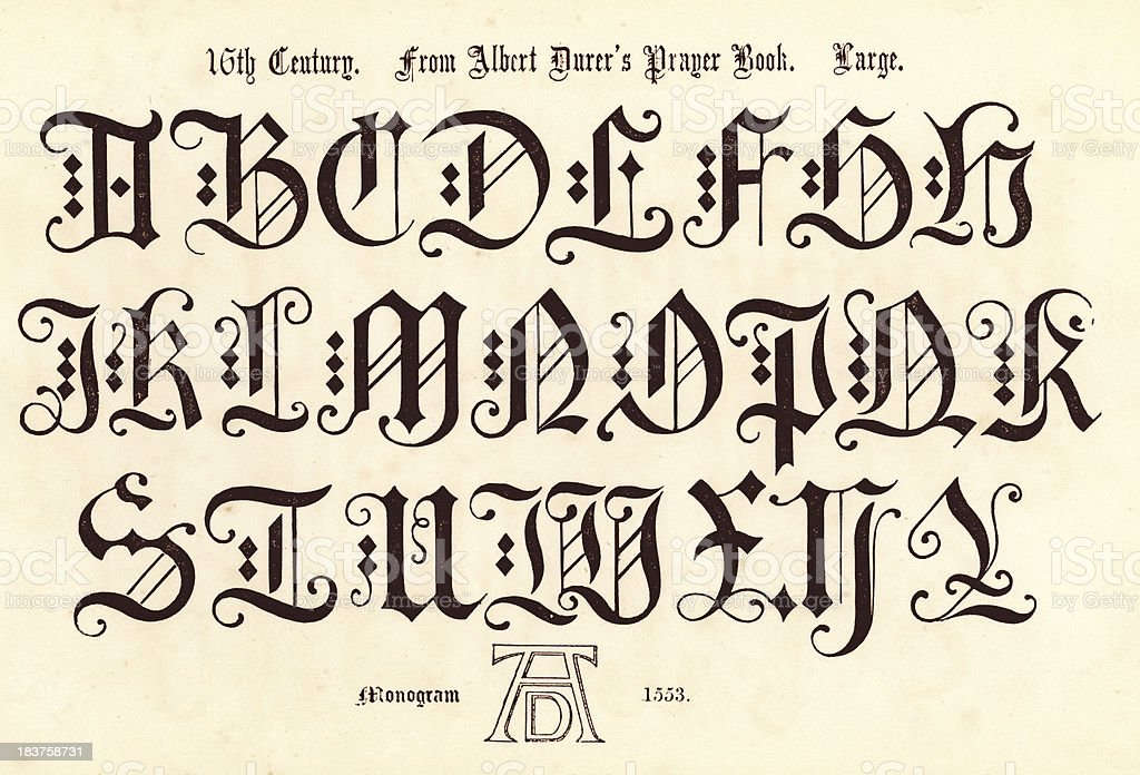 16th Century Style Alphabet royalty-free 16th century style alphabet stock vector art & more images of 16th century style