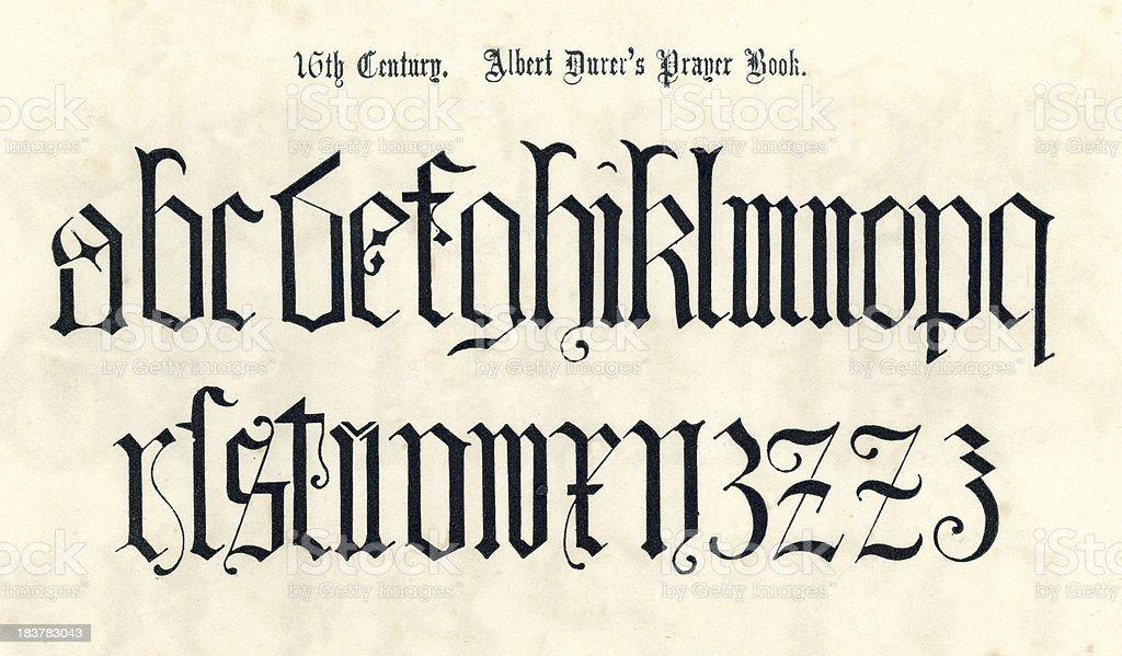 16th Century Style Alphabet vector art illustration