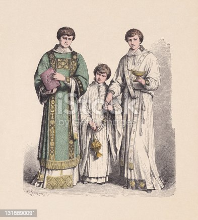 istock 16th-17th century, Catholic vestments, hand-colored wood engraving, published ca. 1880 1318890091