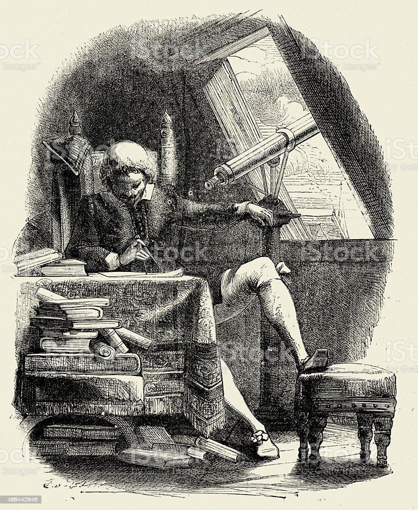 17 ème siècle Astronome - Illustration vectorielle