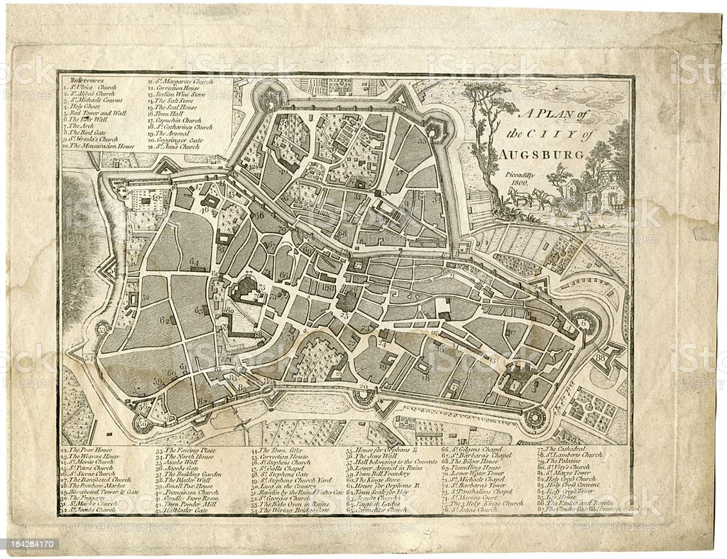 17th century city, plan of Augsburg, Germany royalty-free 17th century city plan of augsburg germany stock vector art & more images of 17th century