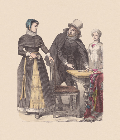 17th century, Danish costumes, hand-colored wood engraving, published ca. 1880