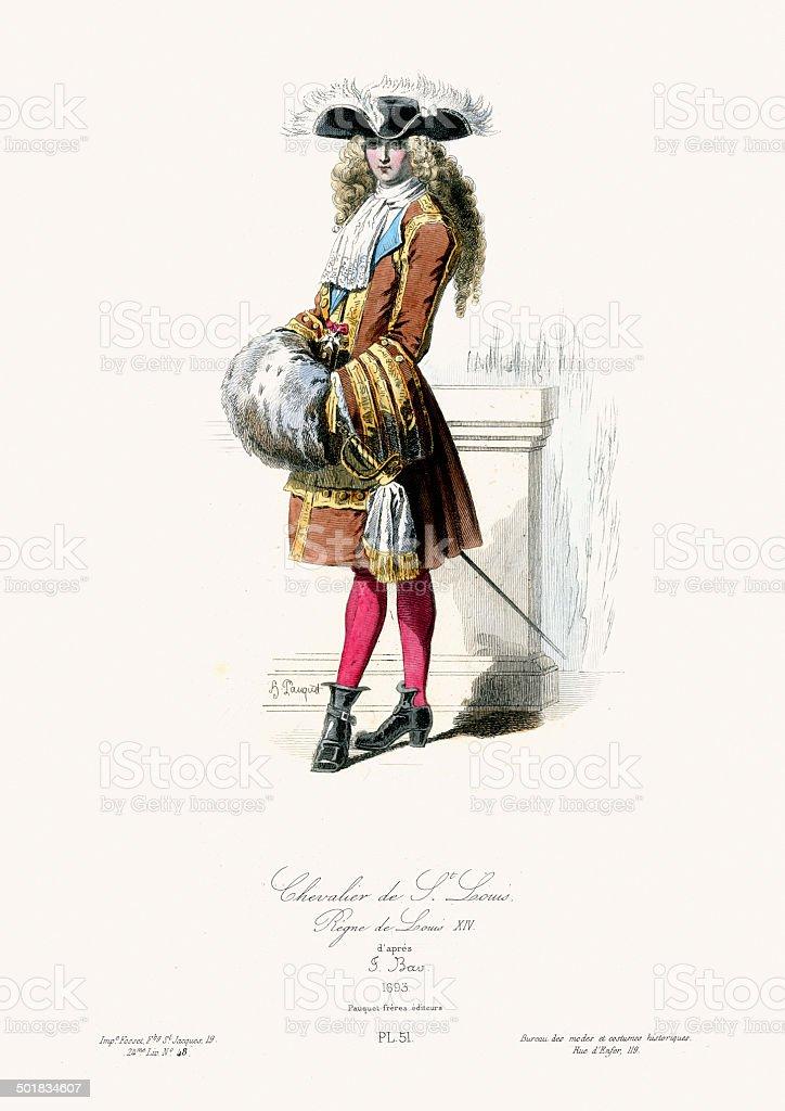 17th Century Fashion - Chevalier a la mode royalty-free stock vector art