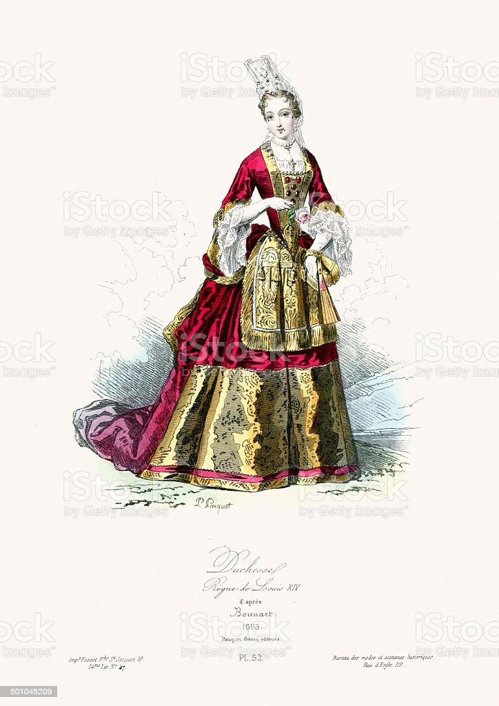 17th Century Fashion - Duchess royalty-free stock vector art