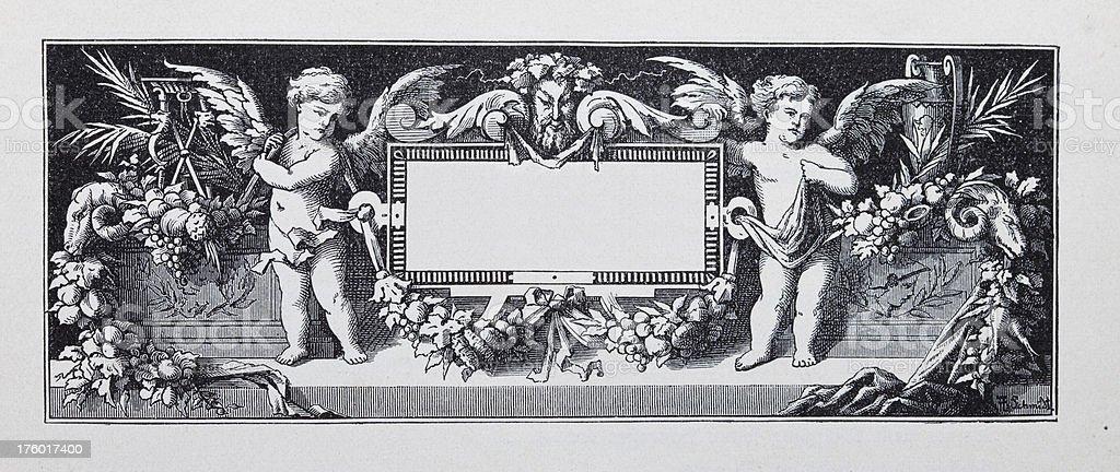 17th century title graphics vector art illustration