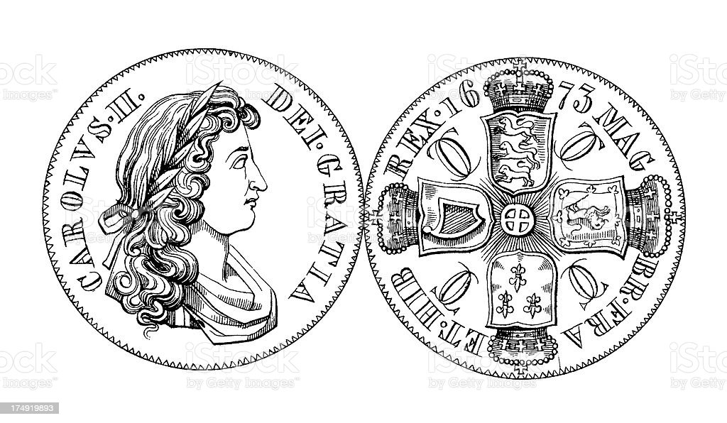 17th-century British Crown Coin | Historic Illustrations vector art illustration