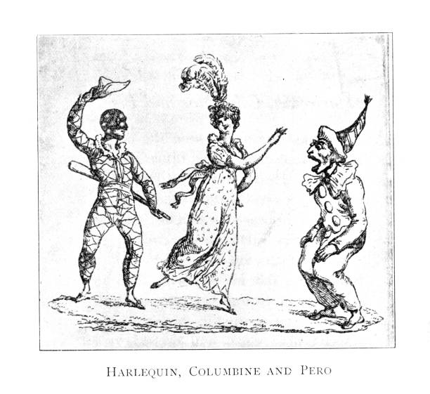 18th 19th century children's books illustrations; Harlequin, Columbine and Pero dancing vector art illustration