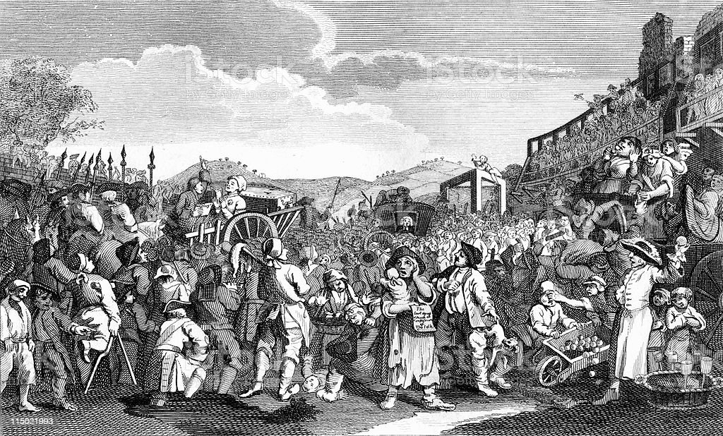 18th Century Crowd and March, Political Cartoon by Hogarth royalty-free 18th century crowd and march political cartoon by hogarth stock vector art & more images of 18th century style