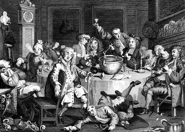 stockillustraties, clipart, cartoons en iconen met 18th century drinking party in england by hogarth - 18e eeuwse stijl