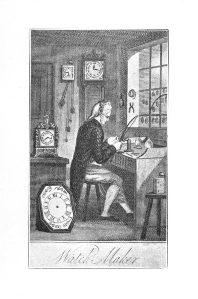 18th century engraving watchmaker at his work bench in shop taken from Forgotten Children's Books 1989 vector art illustration