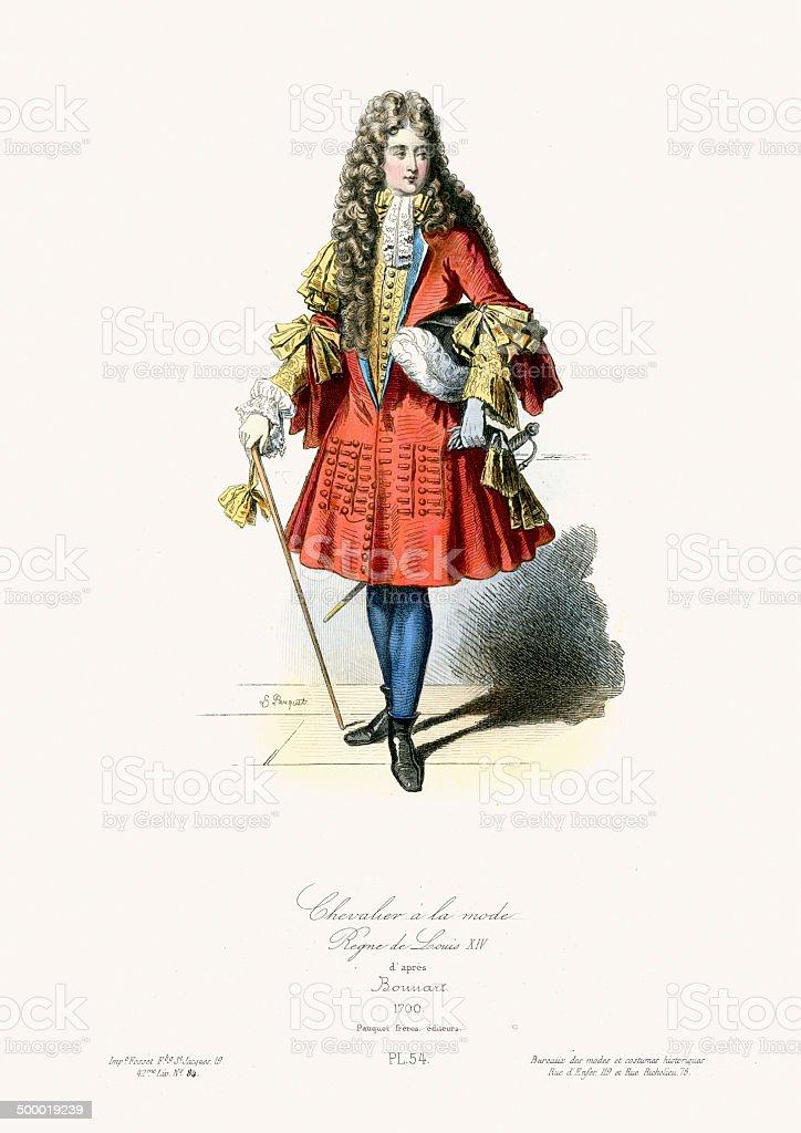 18th Century Fashion - Chevalier a la mode vector art illustration