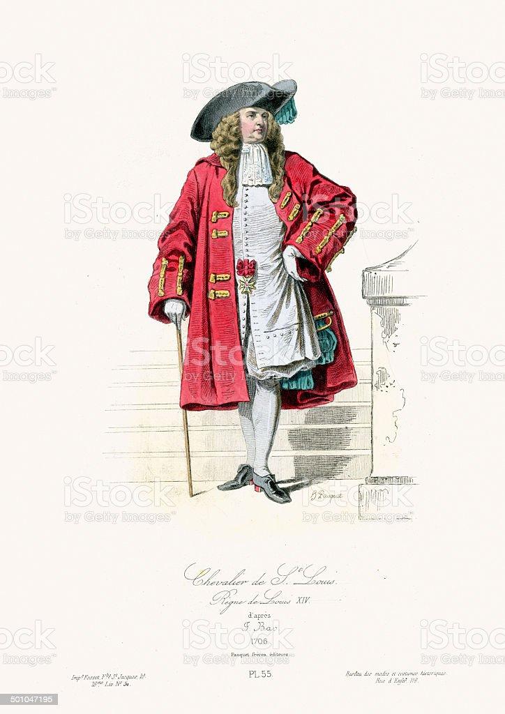 18th Century Fashion - Chevalier de Saint Louis vector art illustration