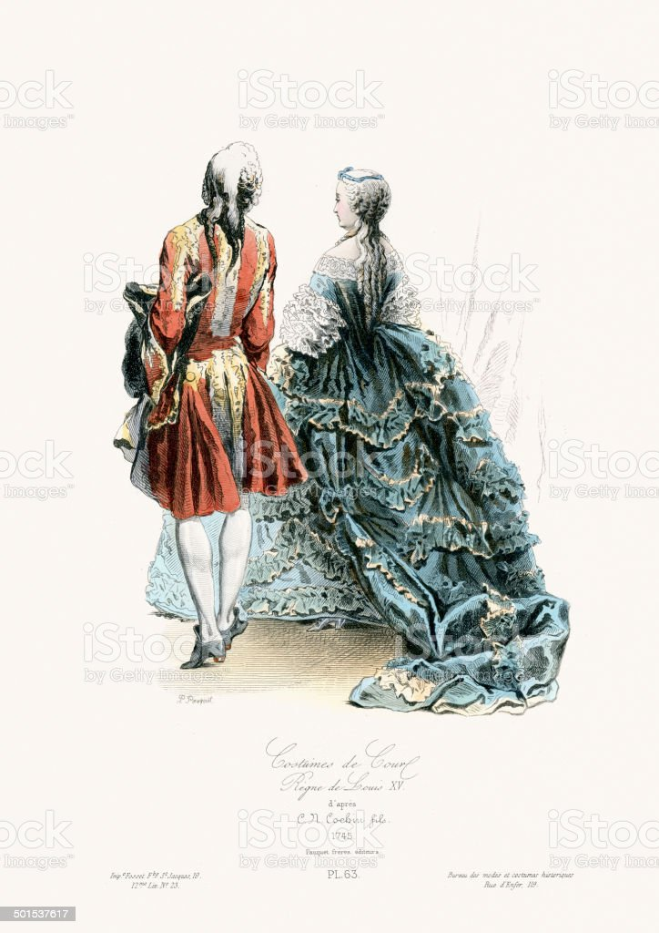 18th Century Fashion - Court Costumes vector art illustration