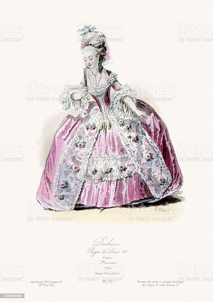 18th Century Fashion - Duchess vector art illustration