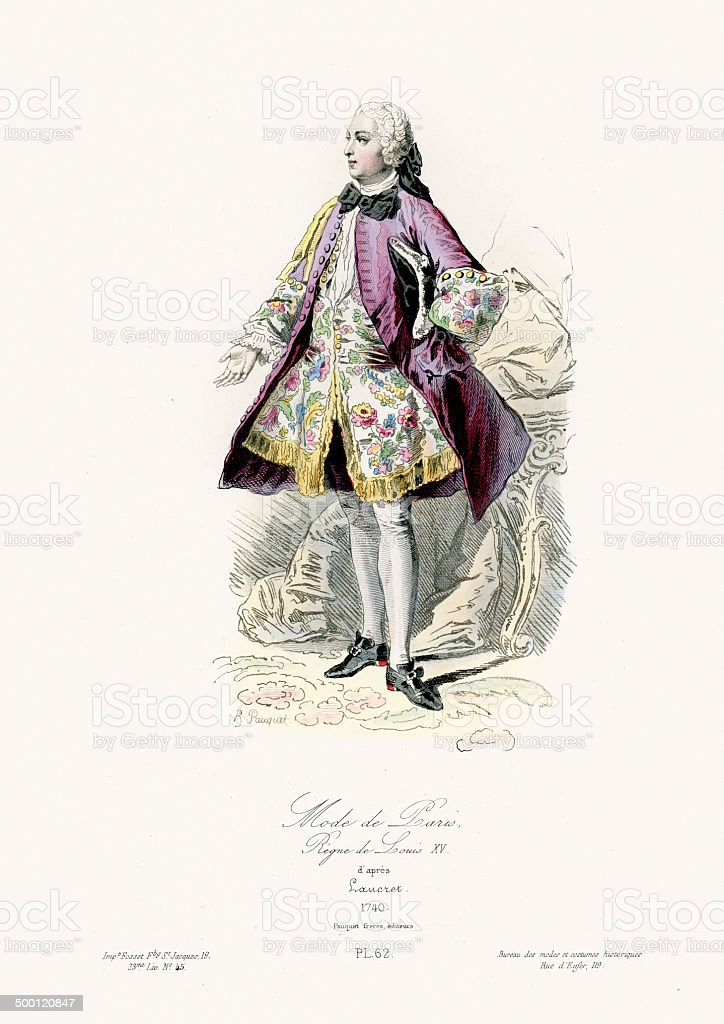 18th Century Fashion - Gentleman of Paris vector art illustration