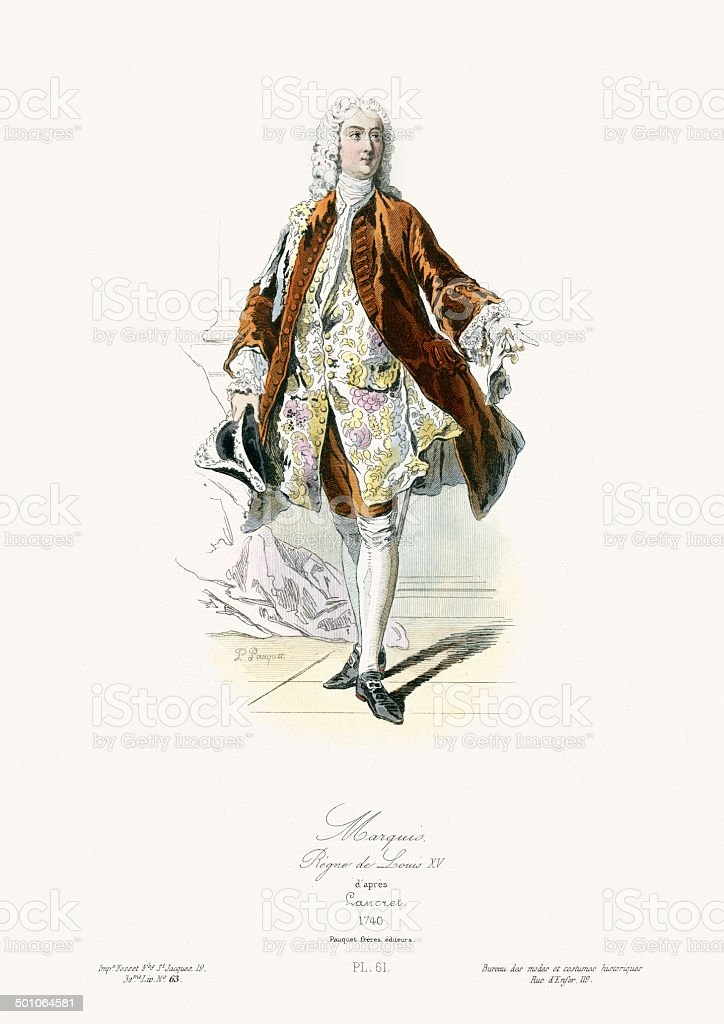18th Century Fashion - Marquis vector art illustration