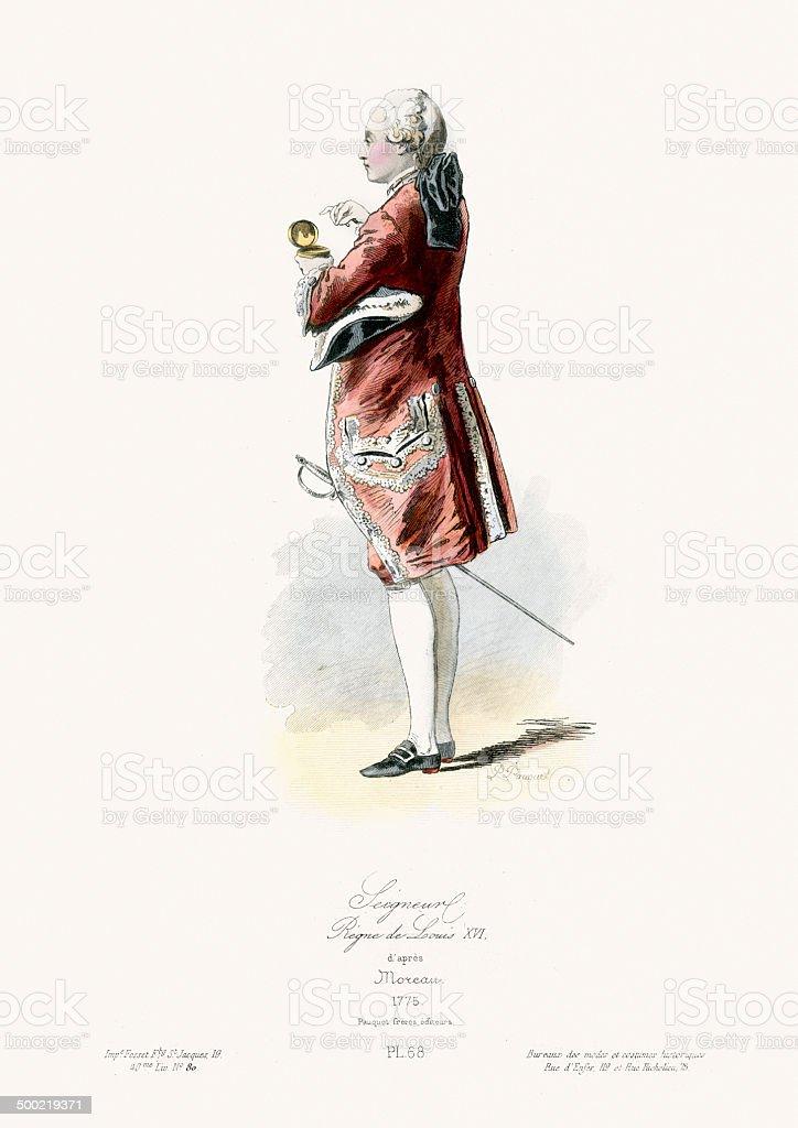 18th Century Fashion - Seigneur vector art illustration