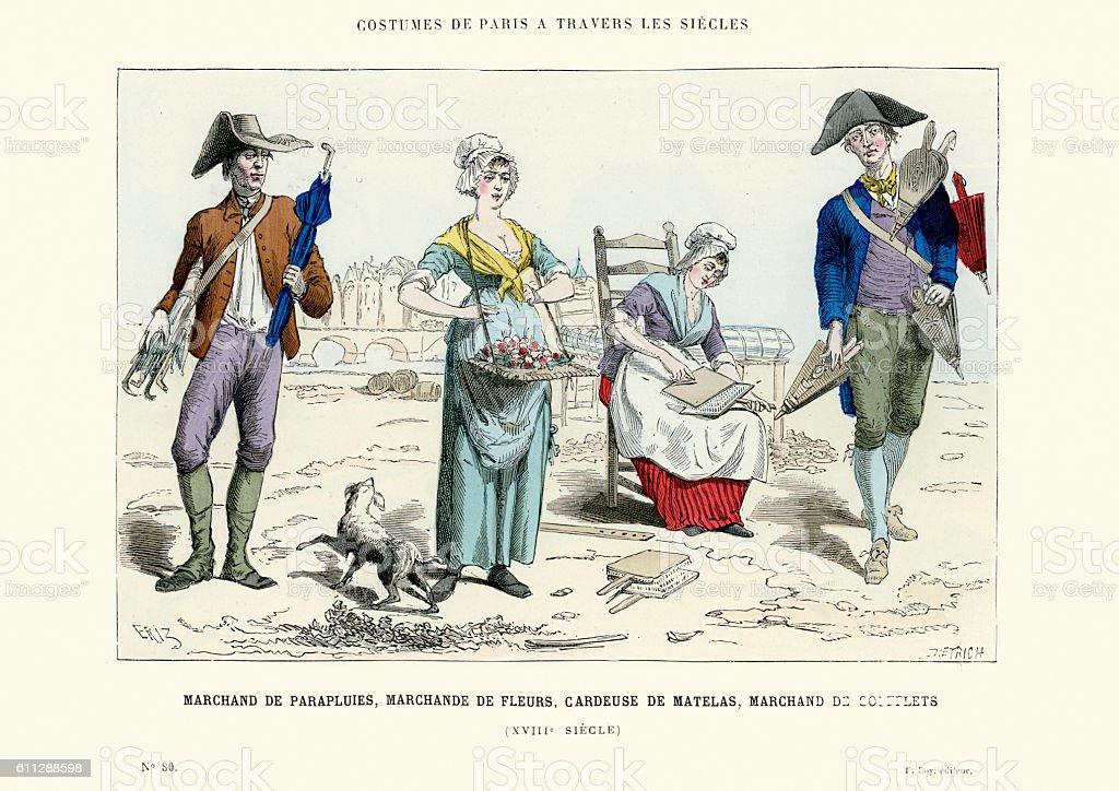 18th Century French Merchants vector art illustration