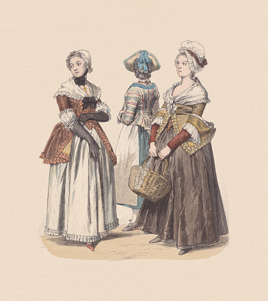 German bourgeois costumes (1770/90): Women from Karlsruhe, Vienna, and Frankfurt/Main (left to right). Hand colored wood engraving, published ca. 1880.