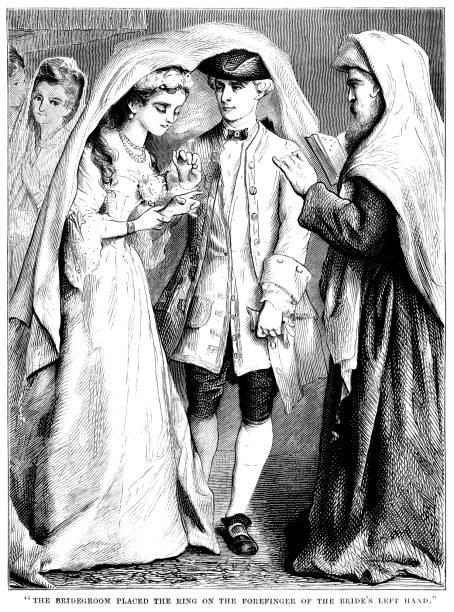 stockillustraties, clipart, cartoons en iconen met 18e eeuw joodse huwelijksceremonie - 18e eeuw