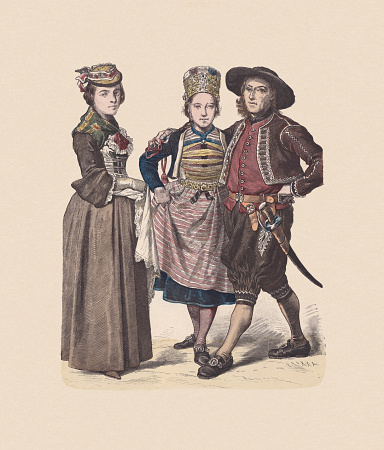 18th century, Swiss costumes, hand-colored wood engraving, published ca. 1880