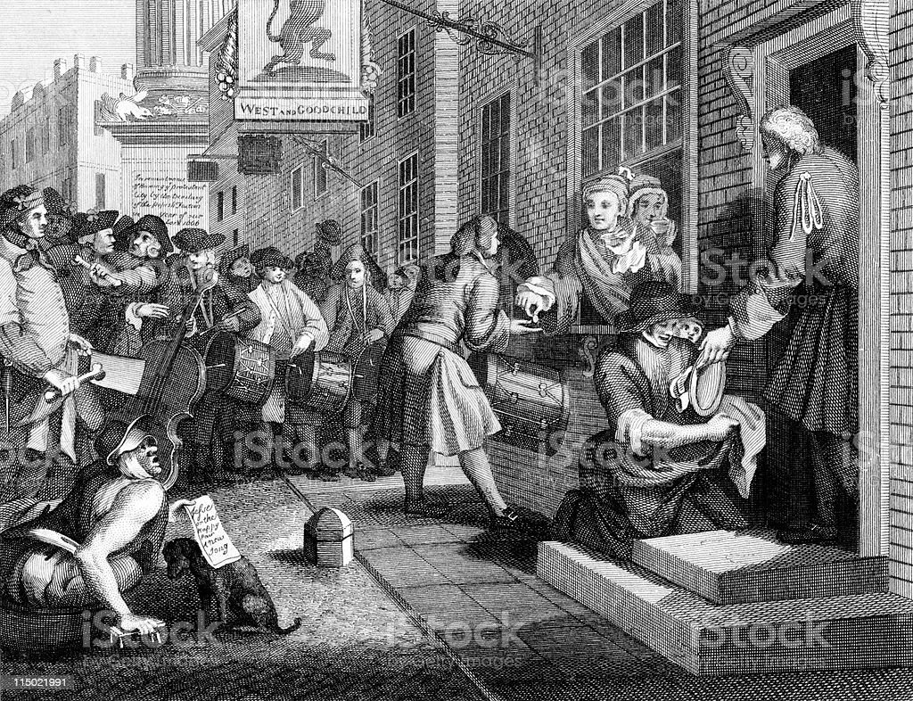 18th Century Thieves Rob House While Distracting with Music royalty-free stock vector art