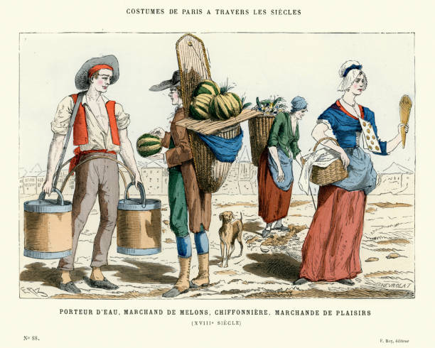 stockillustraties, clipart, cartoons en iconen met 18th century water carrier, mellon merchant, pastry vendor - 18e eeuw