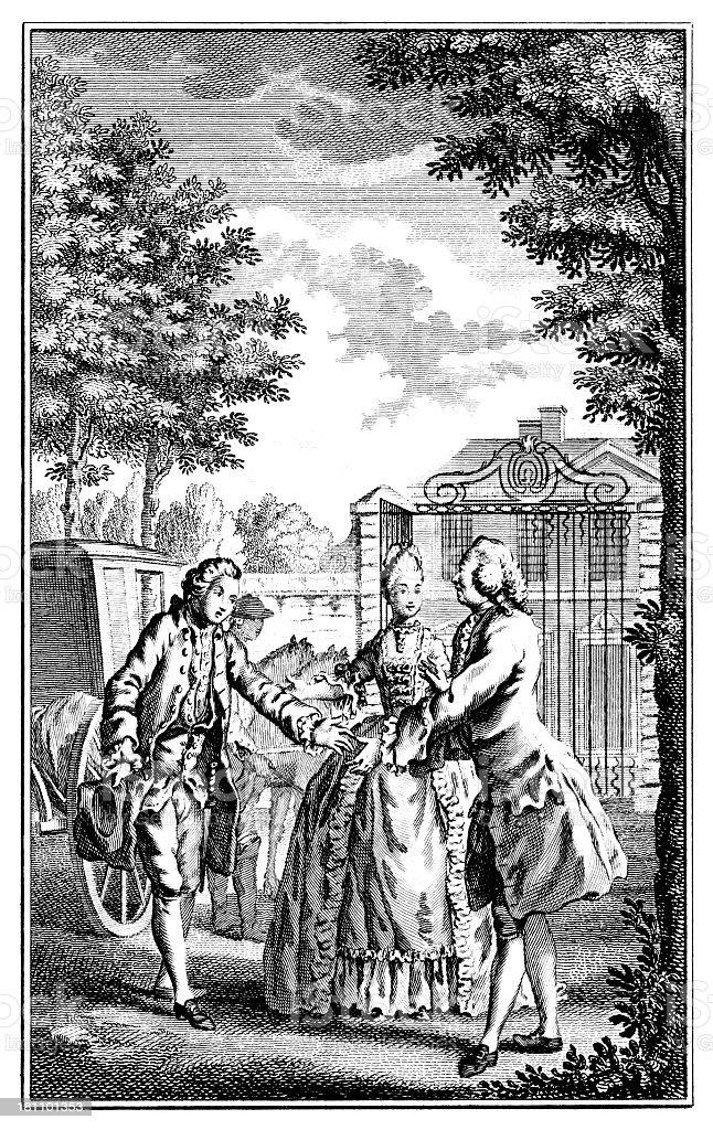 18th century woman introducing two men vector art illustration