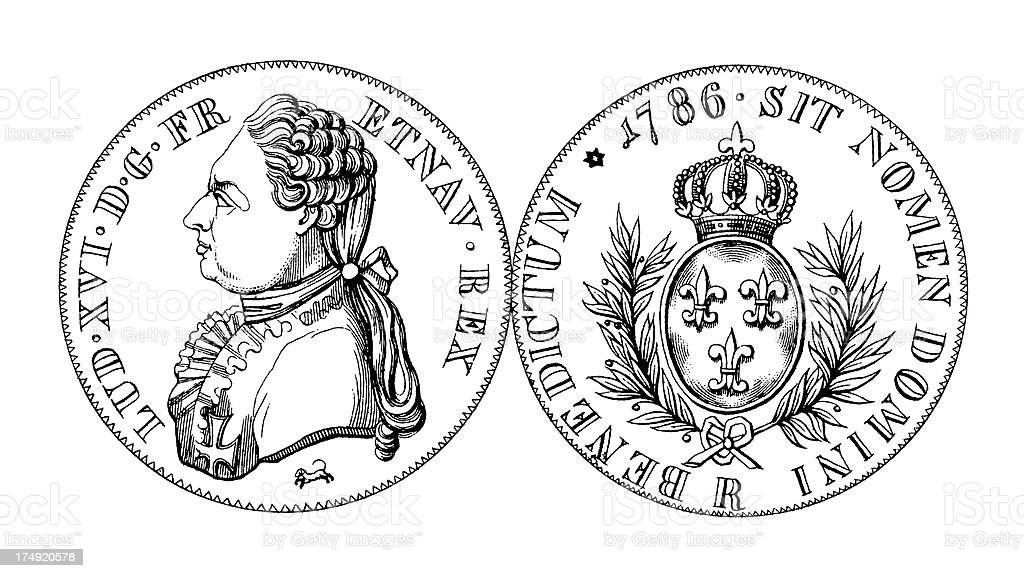 18th-century French Silver Ecu of Louis XVI | Historic Illustrations vector art illustration