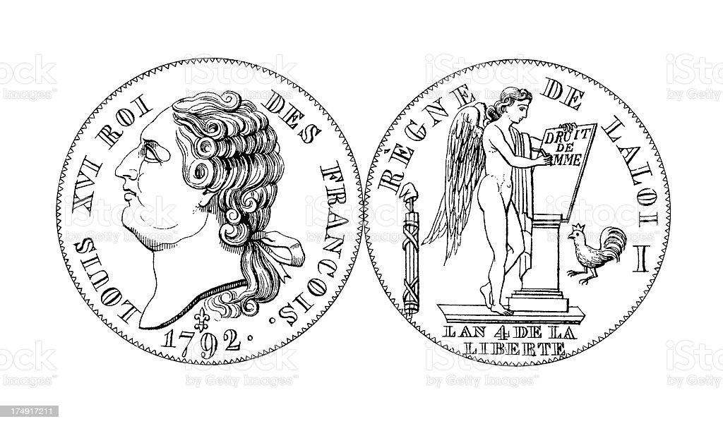 18th-century Louis XVI French Coin | Historic Illustrations vector art illustration