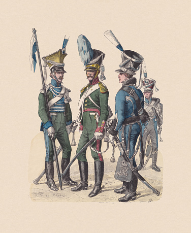 19th century, 1st third, Bavarian military, hand-colored woodcut, published c.1880