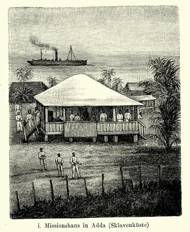 Vintage engraving of Mission House in Adda on the Slave Coast (West Africa). Ferdinand Hirts Geographische Bildertafeln,1886.