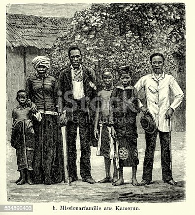 Vintage engraving of missionary family in Cameroon. Ferdinand Hirts Geographische Bildertafeln,1886.