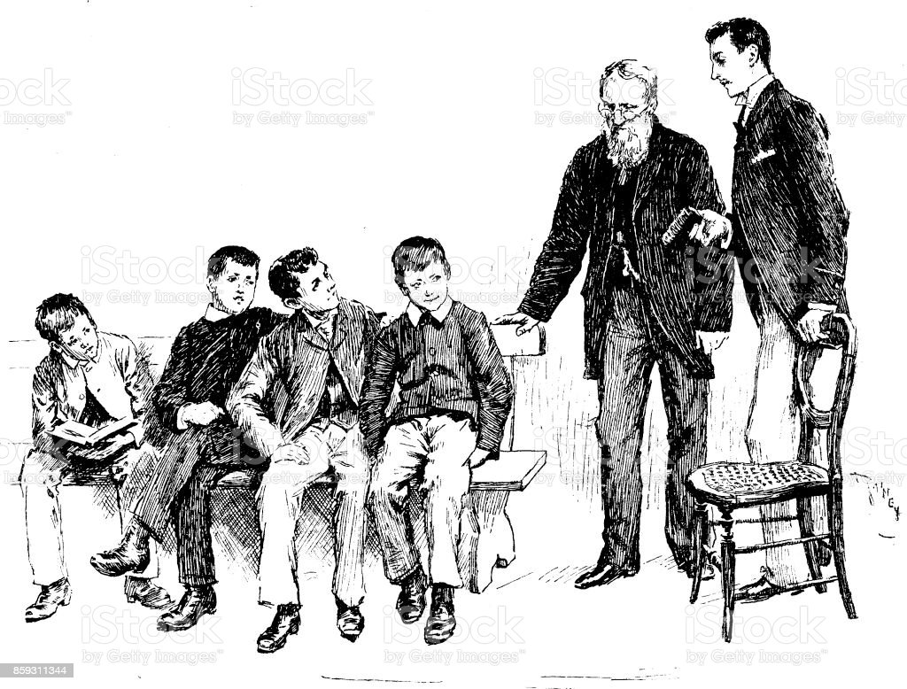 19th century article illustration depicting young men sat in a Sunday School and two teachers stood over them; artist William Rainey 1893 vector art illustration