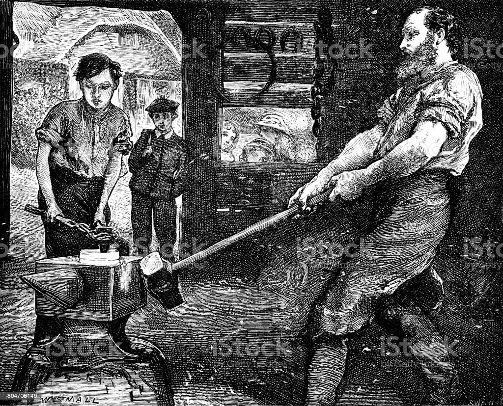 19th century article illustration depicts a blacksmith and his young apprentice working in a forge with children looking on; Artist William Small; Scattered Seed 1892 vector art illustration