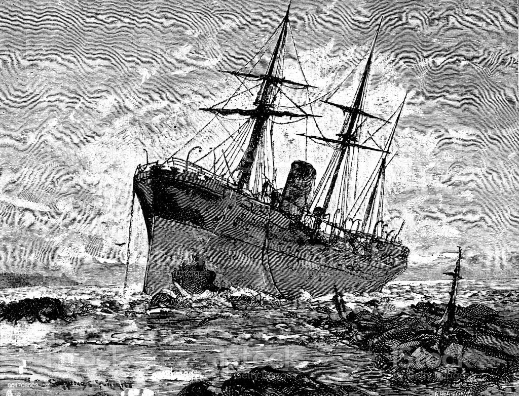 19th century article illustration depicts a sailing vessel lying on its side after running aground; Victorian shipwrecks ; Scattered Seed 1892 vector art illustration