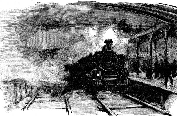 19th century article illustration depicts a train pulling into a railway station; Victorian steam train transportation ; Scattered Seed 1892 vector art illustration