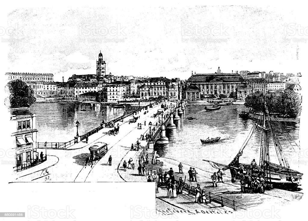 19th century article illustration depicts Vasa bridge in Stockholm, Sweden; print with border and title; 1893 vector art illustration