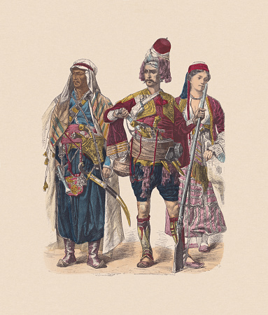 19th century, Asian costumes, hand-colored wood engraving, published ca. 1880