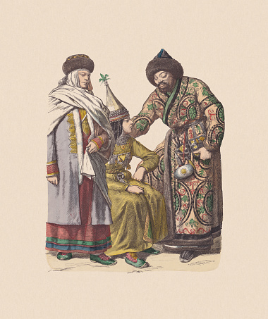 19th century, Asian costumes (Russia), hand-colored wood engraving, published c.1880