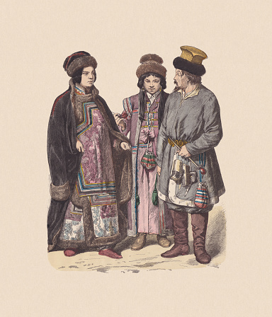 19th century, Asian costumes (Russia): Siberian tatar woman (left). Kalmyks  (right). Hand colored wood engraving, published ca. 1880.