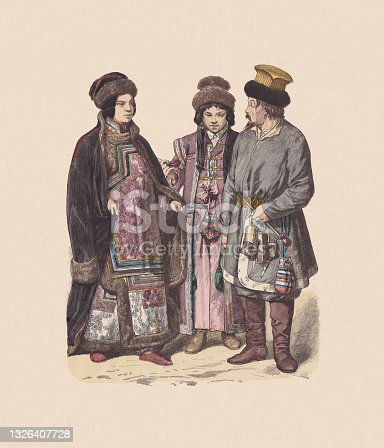 istock 19th century, Asian costumes (Russia), hand-colored wood engraving, published c.1880 1326407728