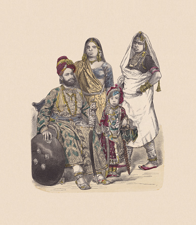 19th century, Asiian costumes, India, hand-colored wood engraving, published c.1880