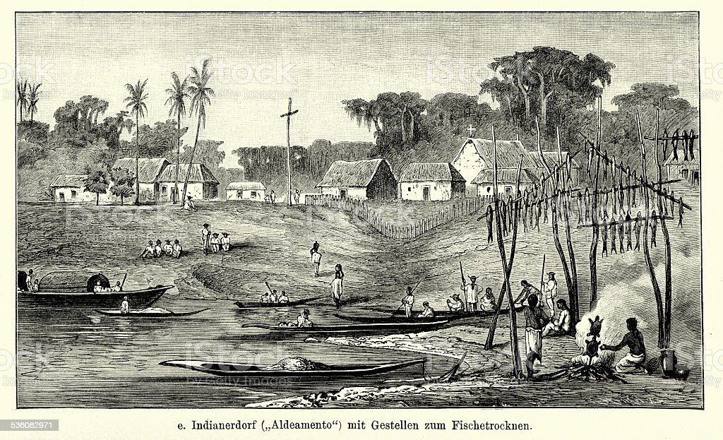 19th Century Brazil - Indian Village vector art illustration