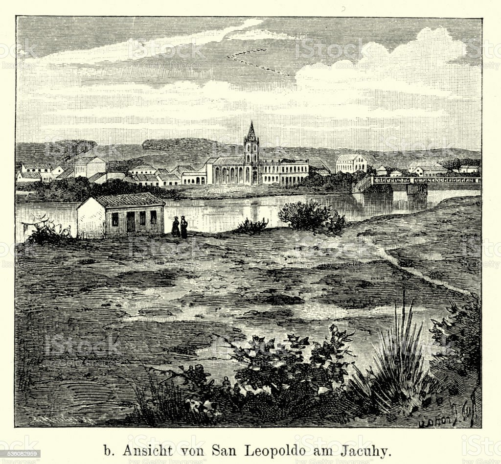 19th Century Brazil - Sao Leopoldo vector art illustration