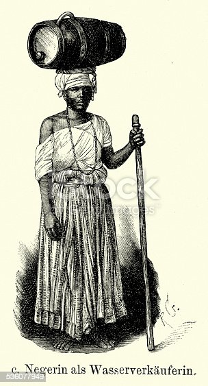 Vintage engraving of a woman of african discent selling water from a barrel, Brazil. Ferdinand Hirts Geographische Bildertafeln,1886.
